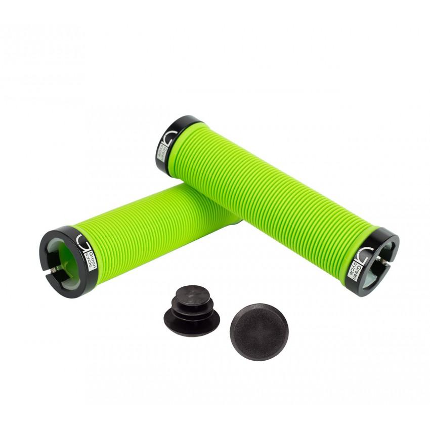 Грипсы Green Cycle GC-G211 130mm зеленый с барендами и замками
