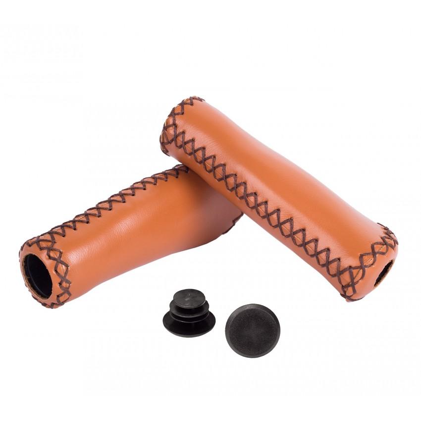 Грипсы Green Cycle GC-G310 Leather 135mm, коричневые, кожанные