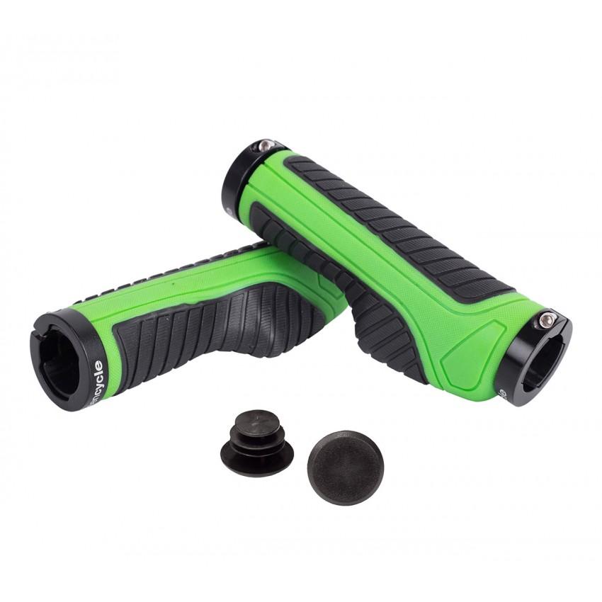 Грипсы Green Cycle GC-G312 130mm эргономичные черно-зеленые с двумя черными замками