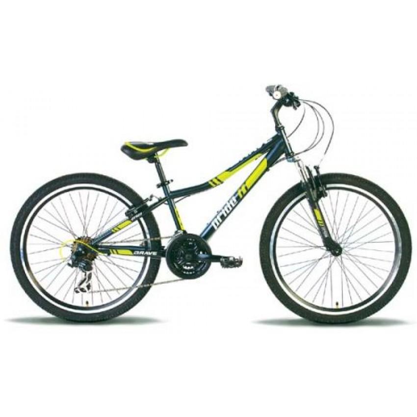 """Велосипед PRIDE BRAVE 24"""" черно-зеленый"""