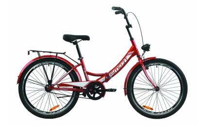 """Велосипед Formula 24 SMART Vbr рама-15"""" ST с багажником зад St, с крылом St, с фонарём 2020 красный"""