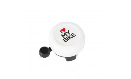 Звонок Green Cycle GCB-1051A-BK I love my bike cтальной, белый