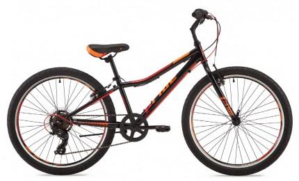 """Велосипед 24"""" Pride Brave 7 чёрный / оранжевый / красный 2018"""