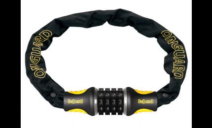 Велозамок ONGUARD MASTIFF COMBO  4x1200 мм цепной кодовый в чехле черный